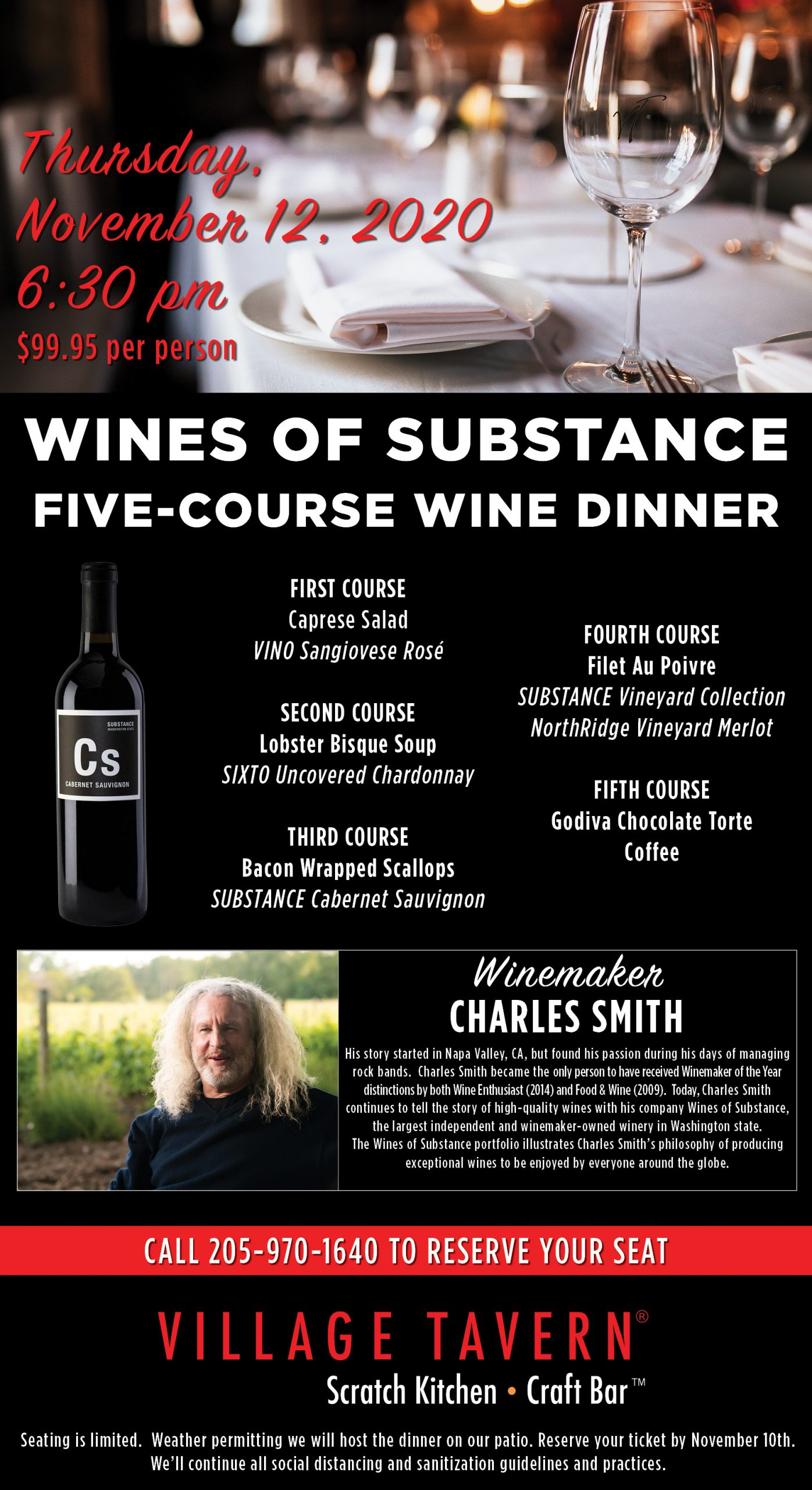 Wines of Substance by Charles Smith, Five-Course Wine Dinner